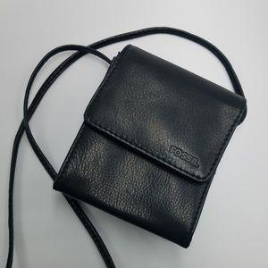 Fossil Black Leather Mini Organizer Crossbody Bag